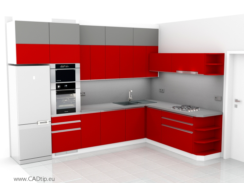 šedo červená kuchyně